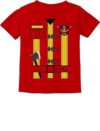 505f7d3e Fireman Uniform Firefighter Halloween Costume Toddler Kids T-Shirt 2T Red