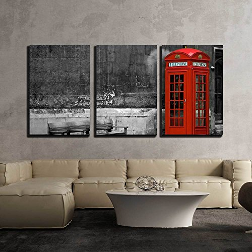 British Phone Booth with Weathered Wooden Bench x3 Panels