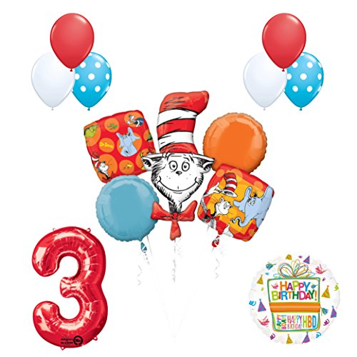 13 pc Dr Seuss Cat in the Hat 3rd Birthday Party Balloon Supplies and Decorations]()