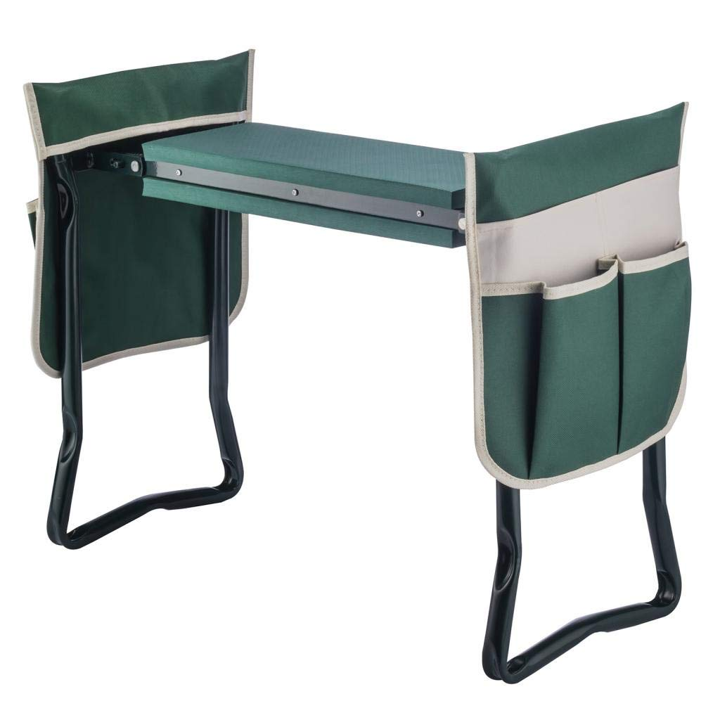 Artist Hand Garden Kneeler Seat Multiuse Foldable Garden Bench with 2 Large Tool Pouch EVA Foam Pad - 2 in 1 Design, Sturdy Build Gardeners Foldable Kneeler, Protect Your Knees and Clothes