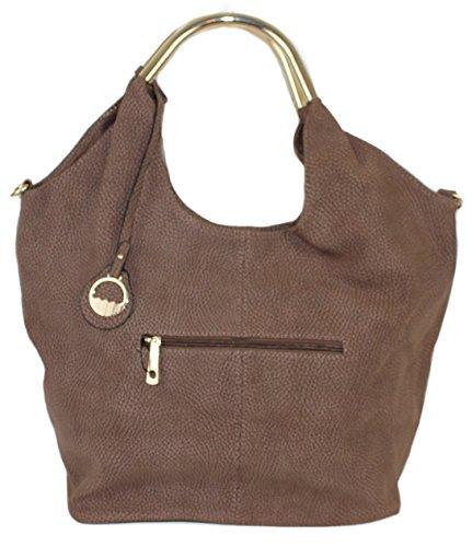 Limited Colors Handtasche Damen Shopper Schultertasche Henkel Lederlook Taupe MR7kCuL