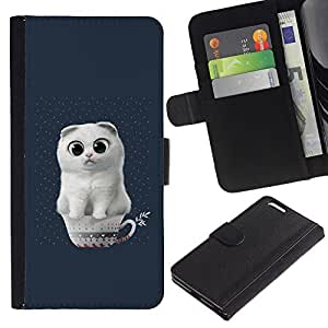 ARTCO Cases - Apple Iphone 6 PLUS 5.5 - Cute White Cat in Cup - Slim PU Leather Wallet Credit Card Case Cover Shell Armor