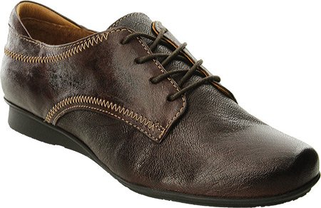 Taos Womens Ideal Oxf Shoes Black Leather Chocolate
