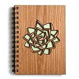 Succulent Laser Cut Wood Journal (Notebook/Birthday Gift/Gratitude Journal/Handmade)