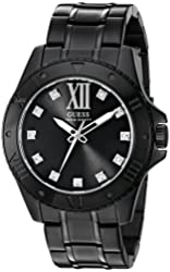 GUESS Men's U0721G3 Sharp Black Watch with Diamond Markers