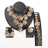 Fashion Gold/Silver Plated Round Crystal Necklace Earrings Bracelet Ring Sets