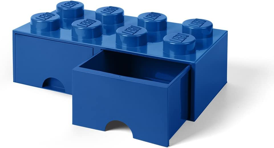 LEGO Brick Drawer 8 Knobs, 2 Drawers, Stackable Storage Box, 9.4 L, Bright Blue