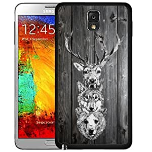 Wooden Deer Bear and Wolf Hanging on Wall Gray Wood Pattern Hard Snap on Cell Phone Case Cover Samsung Galaxy Note 3 N9000