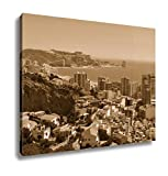 Ashley Canvas An Aerial View Of Cullera In The Valencian Community Spain Which Is A Popular, Wall Art Home Decor, Ready to Hang, Sepia, 16x20, AG6515650