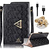Apple iPhone 4 4S Wallet Case,Vandot 3in1 Set Premium Bling Glitter Book Style Wrist Strap Pouch Phone Case PU leather Magnetic Closure Flip Stand Anti-scratch Cover Skin+Diamond Koala Anti Dust Plug+USB Data Cable -Black