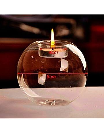 Calistouk 1pc Cristal Portavelas de vidrio Candelero como a mano fino útil