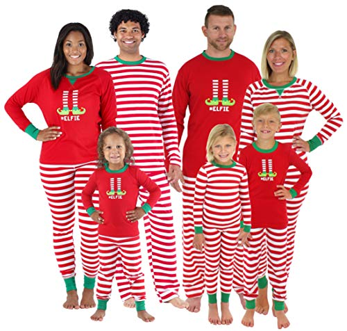 Family Matching Red Striped Elf Pajama Set