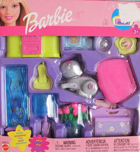 Amazon Com Barbie Trendy Home Accessories Pack Family Room W 15 Pieces 2002 Toys Games