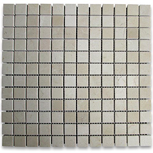 Crema Marfil Spanish Marble Square Mosaic Tile 1 x 1 Polished -