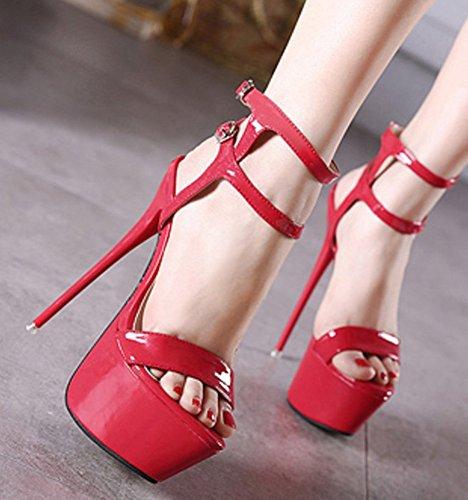 Aisun Womens Sexy Nightclub Stiletto Haut Talon Plate-forme À Bout Ouvert Boucle Sandales Habillées Chaussures Avec Des Sangles À La Cheville Rouge