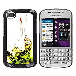 Be Good Phone Accessory // Dura Cáscara cubierta Protectora Caso Carcasa Funda de Protección para BlackBerry Q10 // Drop Ripple Lime Green White