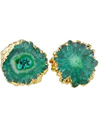 Women's Natural Quartz Geode Druzy Stud Earrings