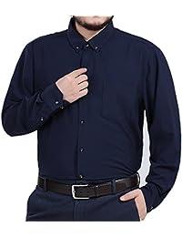 Mens Big and Tall Button Down Long Sleeve Stretch Dress Shirt XL 2XL 3XL 4XL Black White Blue