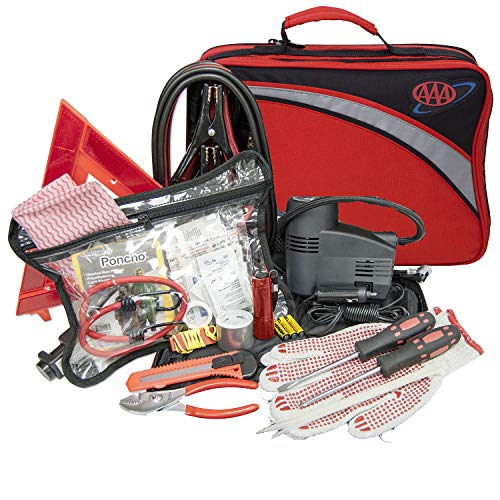 (Lifeline 4388AAA AAA Excursion Road, 76-Piece Car Air Compressor, Jumper Cables, Flashlight and First Aid Kit)