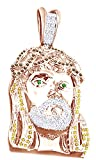 Round Cut Multi Color Cubic Zirconia Hip Hop Jujus Face Pendant in 14K Gold Over Sterling Silver