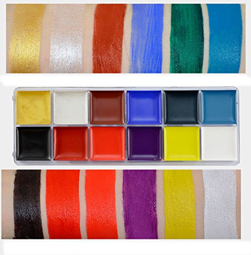 Alacos 12 Colors Body Oil Painting Pigments Halloween Party Theme Events Makeup Kit for Kids Adults +Color Palette & Brushes