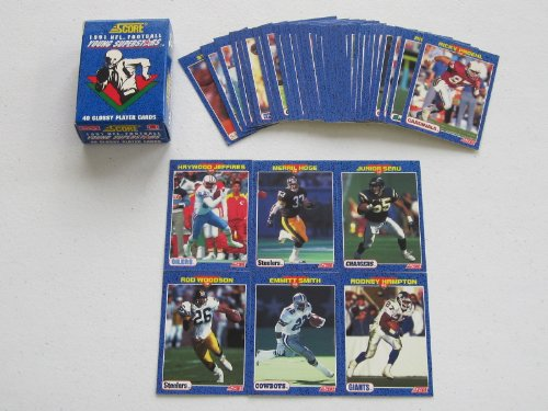 1991 Score NFL Football Young Superstars Complete Factory Set #1-40 Emmitt Smith, Junior Seau, and Rod Woodson 1991 Score Nfl Card