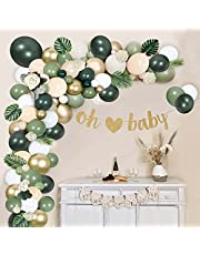 129 PCS Salie Groene Ballon Boog Kit, Olijfgroen Witte Latex Ballonnen Goud Metallic Ballonnen voor Jongens Meisjes Verjaardagsfeestje, Babyshower, Achtergrond Decoraties, Jungle Safari Feestartikelen