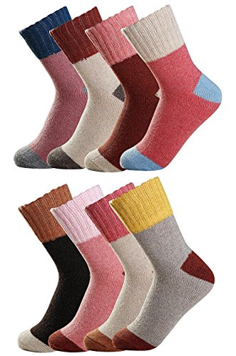 Luxina 8 Pairs Thick Wool Knitting Autumn Winter Socks for Women Color Block Patterned