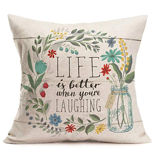 Fukeen Inspirational Quotes Throw Pillow Cases with Flower Bloom Leaves Decorative Cotton Linen Square Cushion Covers Home Garden Decor 18x18 Inch, Life is Better When You 're Iaughing from Fukeen