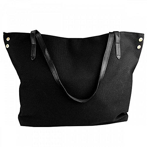 Women's Black Hand Large Tote Bag Shoulder Handbag Canvas HpAHwqT