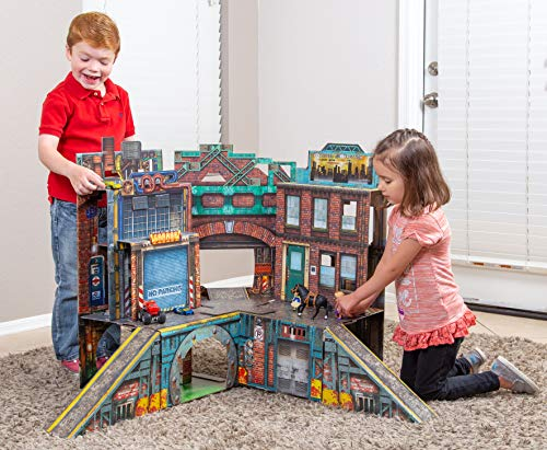 ReadySetz Detailed Graphics Play Set and Diorama - No Assembly, Foldable and Recyclable - Great for Toy Photography and Hours of Fun - Play Big, Store Small - Urban 2.0 by ReadySetz (Image #2)