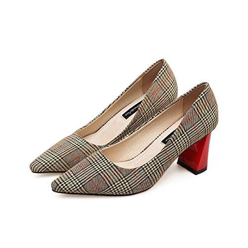 Brown Plaisir paisses Hauts 36 Chaussures Femme Talons Lumire De Avec Pointe La Simples Des 44TqPv7