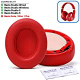 Premium Beats Studio Wireless Ear Cushions by Wicked Cushions - Compatible with Beats Studio 3 2 Wired Wireless - Extreme Comfort with Ear Adapting Memory Foam & Super Strong Adhesive | Red