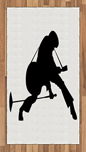 Dancing Silhouette (Elvis Presley Area Rug by Lunarable, King of Rock'n Roll Silhouette Dancing Singing and Playing the Guitar, Flat Woven Accent Rug for Living Room Bedroom Dining Room, 2.6 x 5 FT, Black and White)