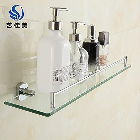 sydlj baño completo cobre WC colgar en la pared baño ducha baño toalla Rack 2 capas de estante de cristal: Amazon.es: Hogar