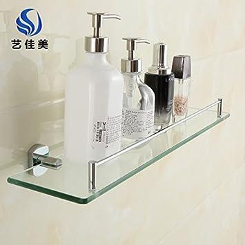 SYDLJ Toalla de baño completo barringrack wc de cobre para colgar en pared bañera ducha baño toallero de 2 capas de vidrio estanterías: Amazon.es: Hogar