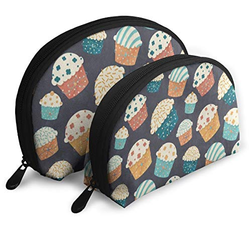Pingshoes Makeup Bag Vintage Cartoon Cupcake Handy Half Moon Cosmetic Bags Organizer for Women
