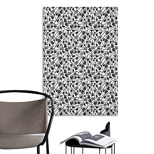 Wall Mural Wallpaper Stickers Music Grunge Style Hand Drawn Style Electric Guitars Sketch Rock Pop Vibes Print Black Grey White Corridor Walkway Wall W24 x H36 (League Of Legends Wallpaper Black And White)