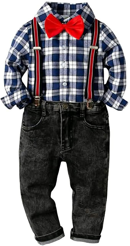 Conjunto de Trajes de Dos Piezas para Niños, Camisa a Cuadros de Manga Larga + Pantalones de Tirantes, 2-7 Años #041: Amazon.es: Ropa y accesorios