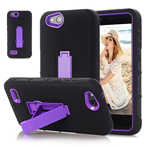 Mchoice Bling Hard Soft Rubber Impact Armor Case Back Hybrid Cover for ZTE Tempo X N9137 (Purple)
