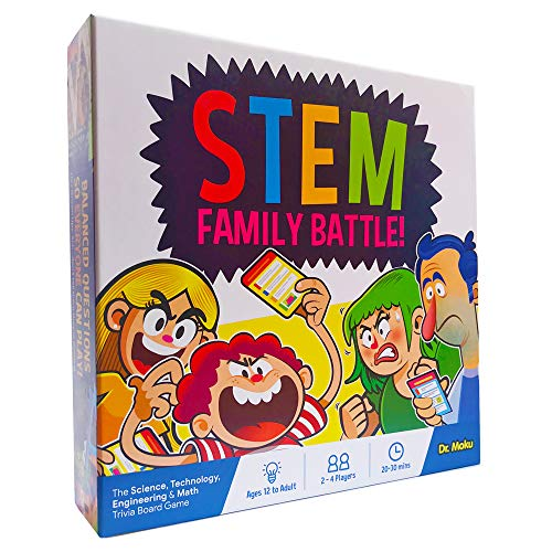 STEM Family Battle – A Family Board Game for Kids and Adults – Balanced Trivia Party Game for Your Family Game Night and…