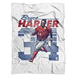 500 LEVEL's Bryce Harper Soft And Warm Fleece Blanket For Washington Baseball Fans - Bryce Harper Retro B
