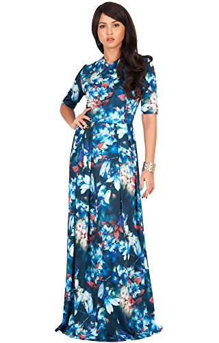 KOH KOH Plus Size Women Long Flowy Summer Short Sleeve Floral Flower Print Printed Casual Party  ...