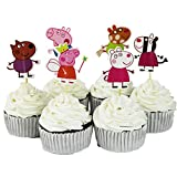 BETOP HOUSE Set of 24 Pieces Cute Peppa Pig Theme Party Decorative Cupcake Topper for Kids Birthday Party Baby Shower