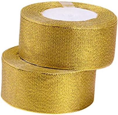 Healifty 2本巻き1.57インチのギフト用のゴールドラメリボンメタリックリボン