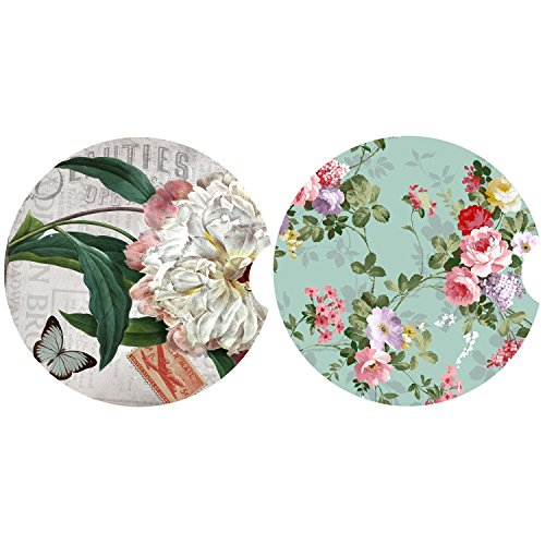 LogHog Pack of 2 Absorbent Car Coasters for Cup Holders,Elegant Flower Pattern Ceramic Coaster for Drinks (Flowers Coasters)