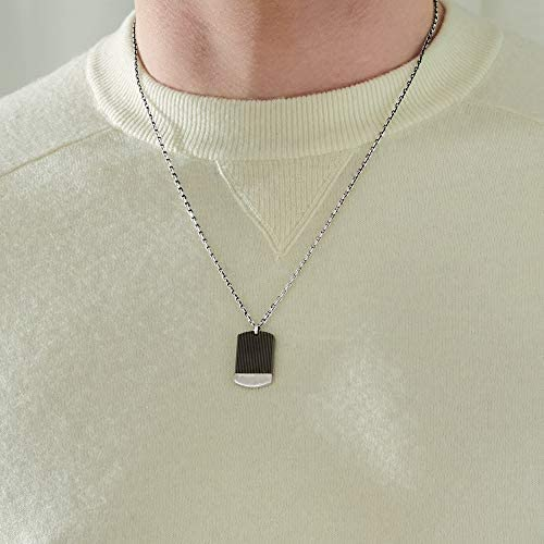 Xenox Men's Necklace 925 Sterling Silver and Titanium
