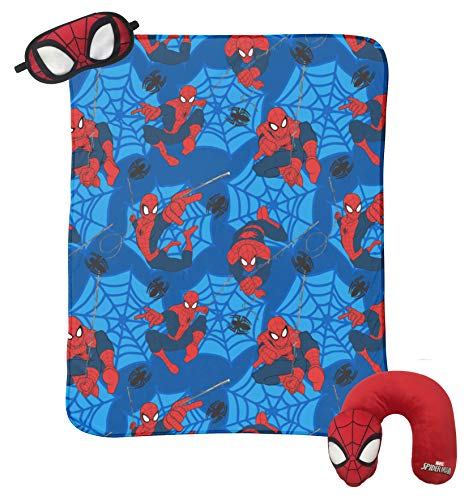 Jay Franco Marvel Spiderman 3 Piece Plush Kids Travel Set with Neck Pillow, Blanket & Eye Mask (Official Marvel -