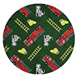 Hook and Ladder Fire Engine Green Multi - 7' ROUND Custom Stainmaster Premium Nylon Carpet Area Rug ~ Bound Finished Edges
