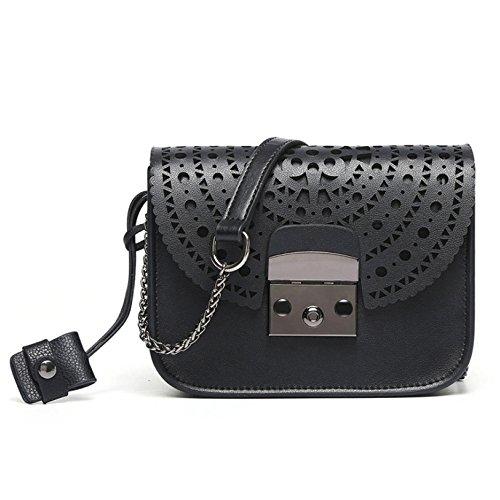 Zpfmm Girls Small Women Mid Casual Leather Shoulder Bag Mini Shoulder Bag Crossbody Bag Messenger Bag Black